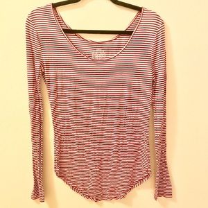 SO Striped Long Sleeve Knot Top - Large